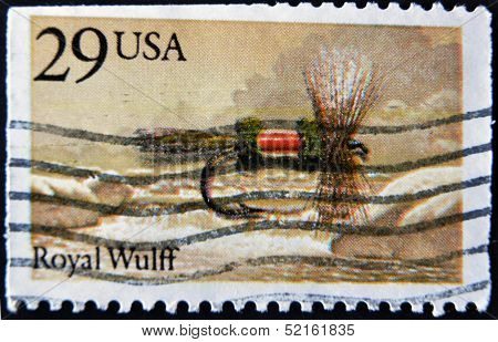 Usa - Circa 1980: A Stamp Printed In Usa Shows Image Of The Dedicated To The Fishing Royal Wulff