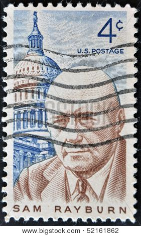 Double stamp shows Sam Rayburn lawmaker and Democratic speaker of the US House of representatives