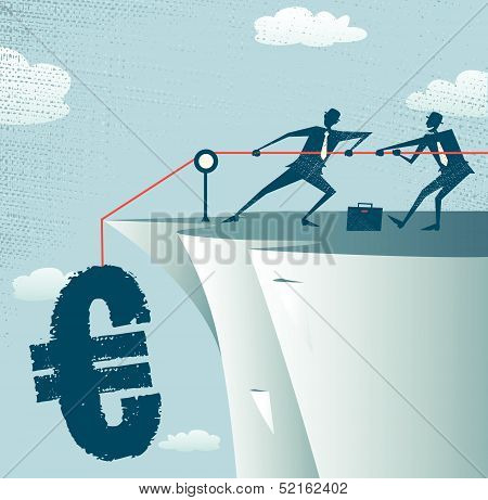 Abstract Businessmen work together to save the money.