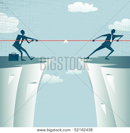 Abstract Businessmen Tug of war on a cliff.