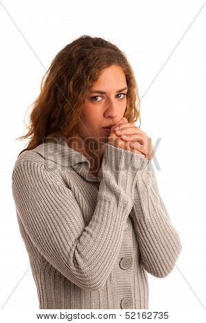 Woman Blowing In Her Hands When Feeling Cold