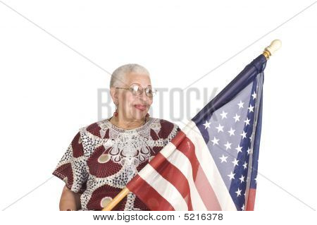 African American Woman With Us Flag