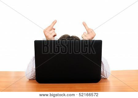 Middle Finger Behind Laptop