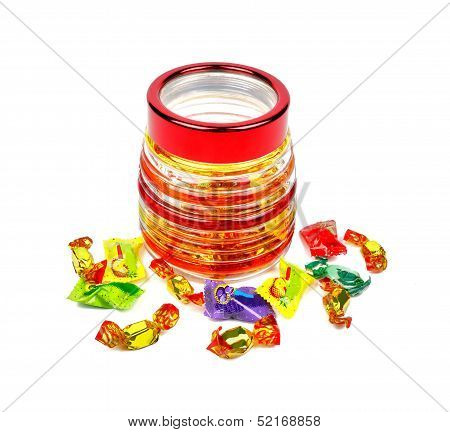 Sweets In The Form Of A Barrel With Scattered Sweets