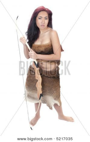 Pretty Asian Girl In Animal Skin With Bow
