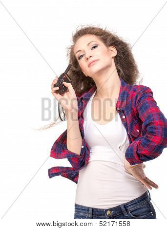 Woman with cb radio, isolated