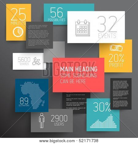 Vector abstract squares illustration / infographic template with place for your content on dark background