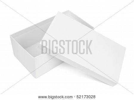 Open Shoe Box On White