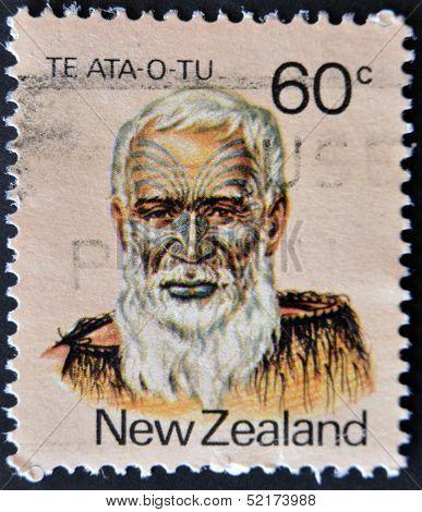 New Zealand - Circa 1988: A Stamp Printed In New Zealand Shows Image Of Te Ata O Tu The Maori Leader