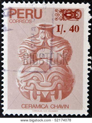 A stamp printed in Peru shows ceramics belonging to the pre-Columbian culture Chavin