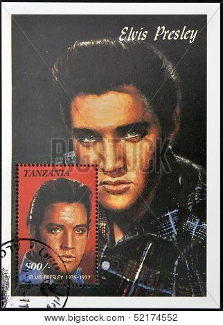 Tanzania - Circa 1997: A Stamp Printed In Tanzania Shows Elvis Presley, Circa 1997