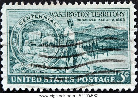 Stamp Printed In United States, Shows Medallion Pioneers And Washington Scene