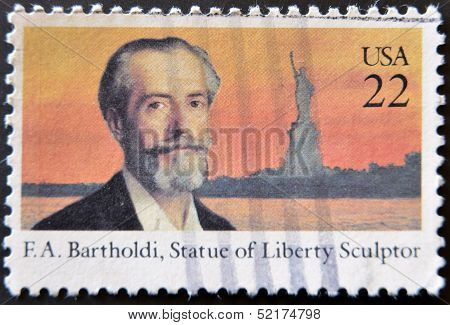 United States - Circa 1985: A Stamp Printed In Usda Shows F.a.bartholdi, Statue Of Liberty Sculptor
