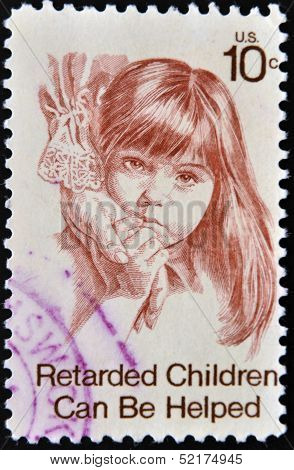 United States Of America - Circa 1974: A Stamp Printed In Usa Dedicated To Helping Retarded Children