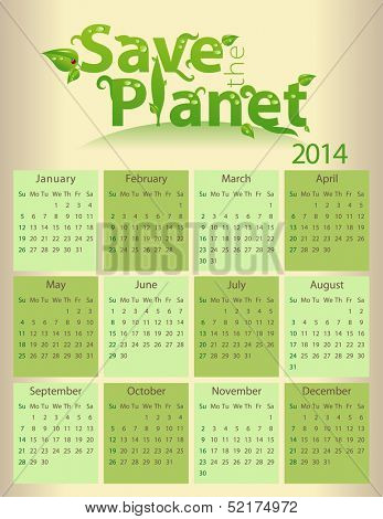 Calendar for 2014 - Save the planet - letter size