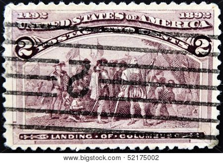 A stamp printed in USA shows Columbus in court of Isabella