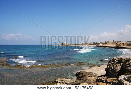 Mediterranean Sea Coastline In Acre, Israel