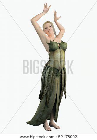 Elf Woman in a Green Leaf Dress