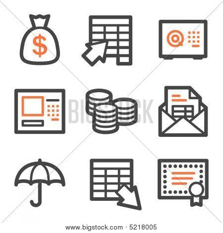 Banking Web Icons, Orange And Gray Contour Series