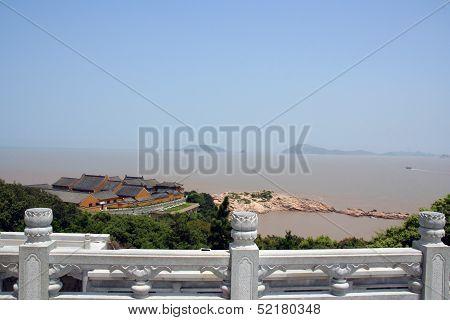View Of Sea And Buddhist Temple, Putuoshan, China