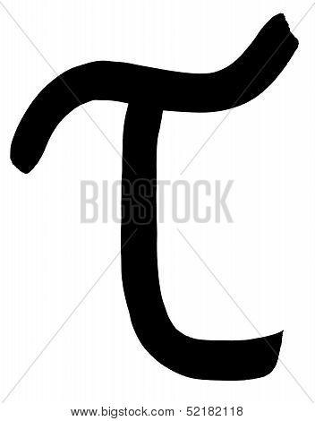 Greek Letter Tau Hand Written In Black Ink