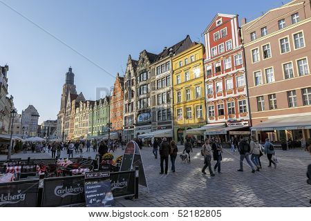 Tenements In Old Market Square In Wroclaw