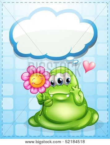 Illustration of a fat green monster holding a flower with an empty callout
