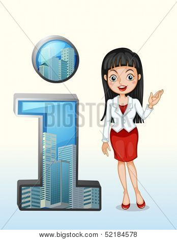 Illustration of a number one symbol beside a pretty businesswoman on a white background