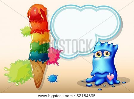 Illustration of a giant icecream beside the blue monster with an empty callout