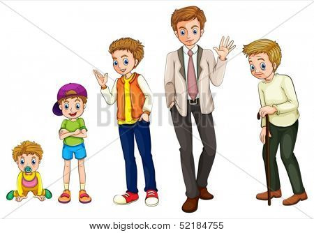 Illustration of a man from childhood to adulthood on a white background