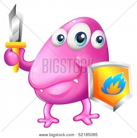 Illustration of a brave beanie monster with a sword and a shield on a white background