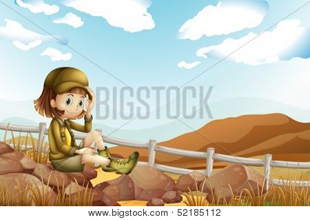 Illustration of a female explorer sitting above the rock near the fence