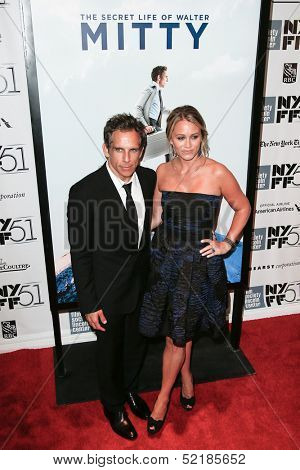 NEW YORK-OCT 5: Ben Stiller & Christine Taylor attend 'The Secret Life Of Walter Mitty' premiere at New York Film Festival at Alice Tully Hall at Lincoln Center on October 5, 2013 in New York City.