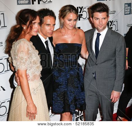 NEW YORK-OCT 5: Kristen Wiig, Ben Stiller, Christine Taylor, Adam Scott at 'The Secret Life Of Walter Mitty' premiere at the NY Film Festival at Alice Tully Hall on October 5, 2013 in New York City.