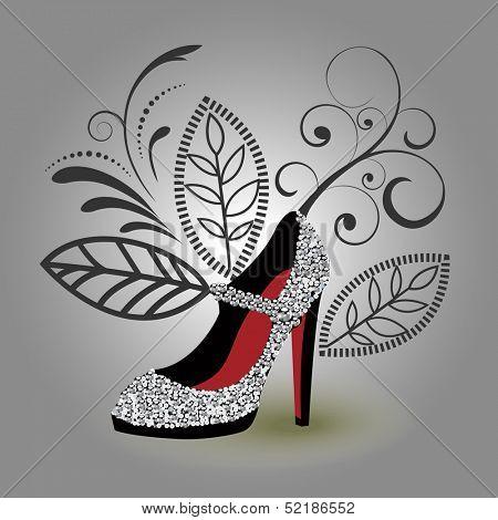 Silver encrusted glamor shoe