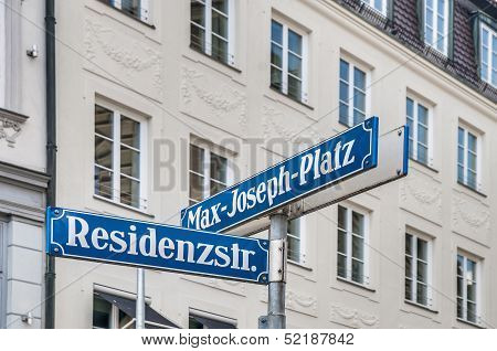 Max-joseph-platz Street Sign In Munich, Germany