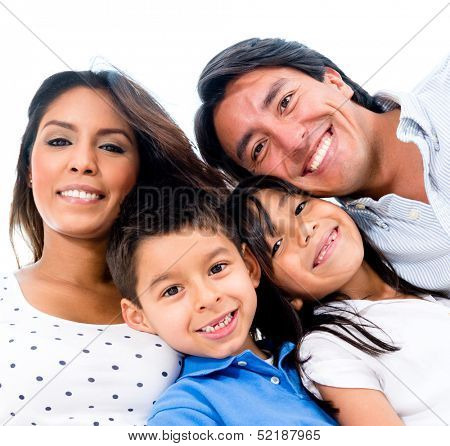 Beautiful portrait of a happy family smiling