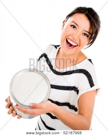 Fun woman throwing painting from a can - isolated over white background