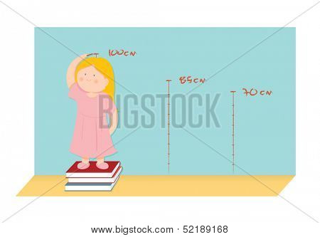 Illustration of a little girl measuring her height and pretending to be higher
