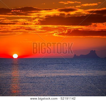 Ibiza sunset Es Vedra view from Formentera la Savina red orange sky