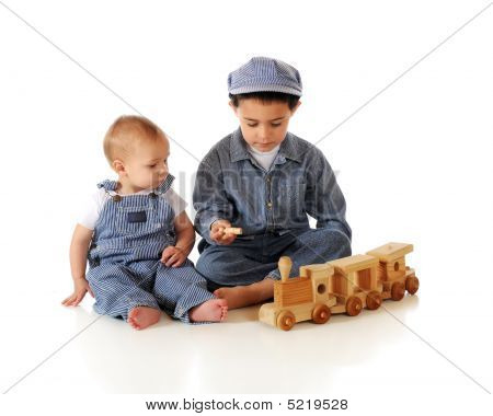Brothers Playing Train