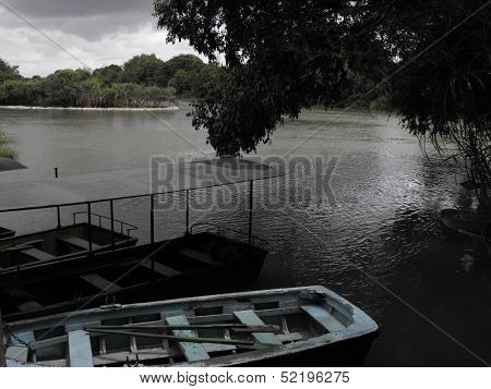 Anchored Boats at Ranganathittu Bird Sanctuary