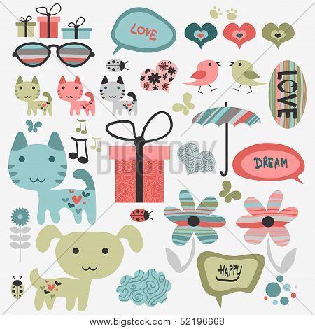 Set of cute scrapbook elements