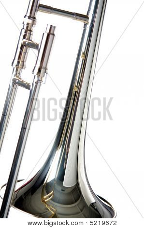 Trombone Close-up Isolated  On White