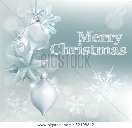 Christmas Snowflake And Decoration Background