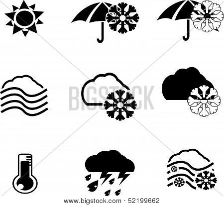 silhouette of weather icons