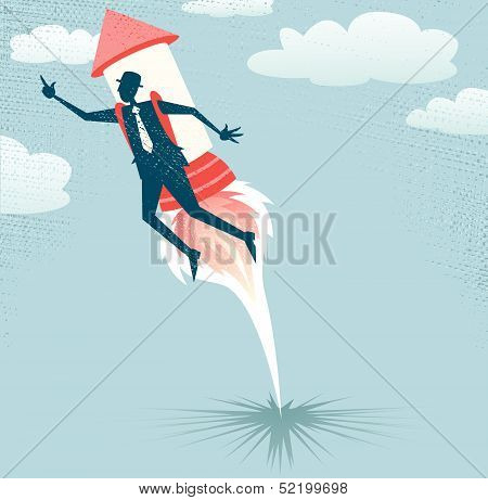 Abstract Businessman jets off with Rocket Pack.