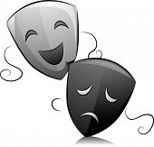 foto of comedy  - Black and White Illustration of Drama Masks Depicting Comedy and Tragedy - JPG