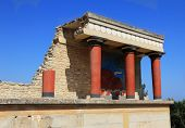 Knossos palace at Crete, Greece Knossos Palace, is the largest Bronze Age archaeological site on Cre
