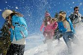 picture of friendship day  - happy young people group have fun and enjoy fresh snow at beautiful winter day - JPG